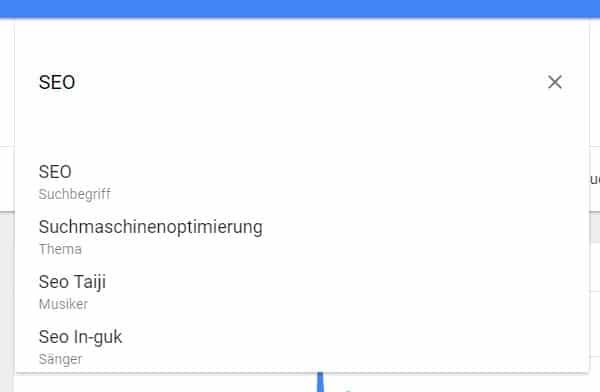 Google Trends Vorschläge zum Begriff SEO