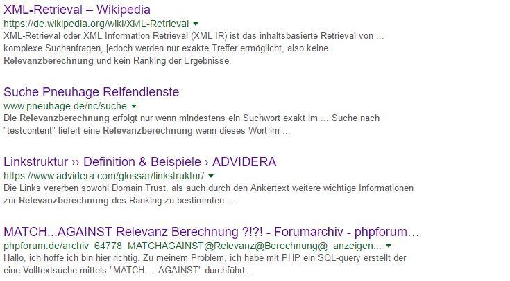 Liste von Suchergebnissen zur Stichwort Relevanzberechnung