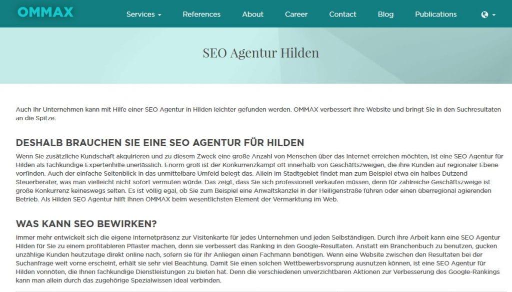 Screenshot der Website der Agentur Ommax aus München