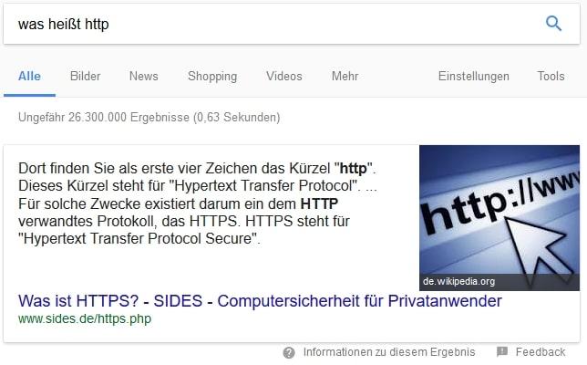 Featured Snippet in der Google Suche zu HTTP