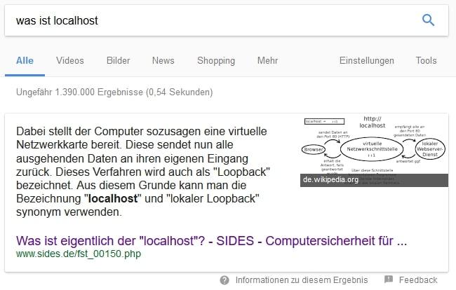 Featured Snippet in der Google Suche zu Localhost