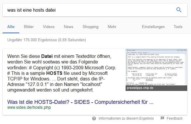 Featured Snippet in der Google Suche zu HOSTS Datei